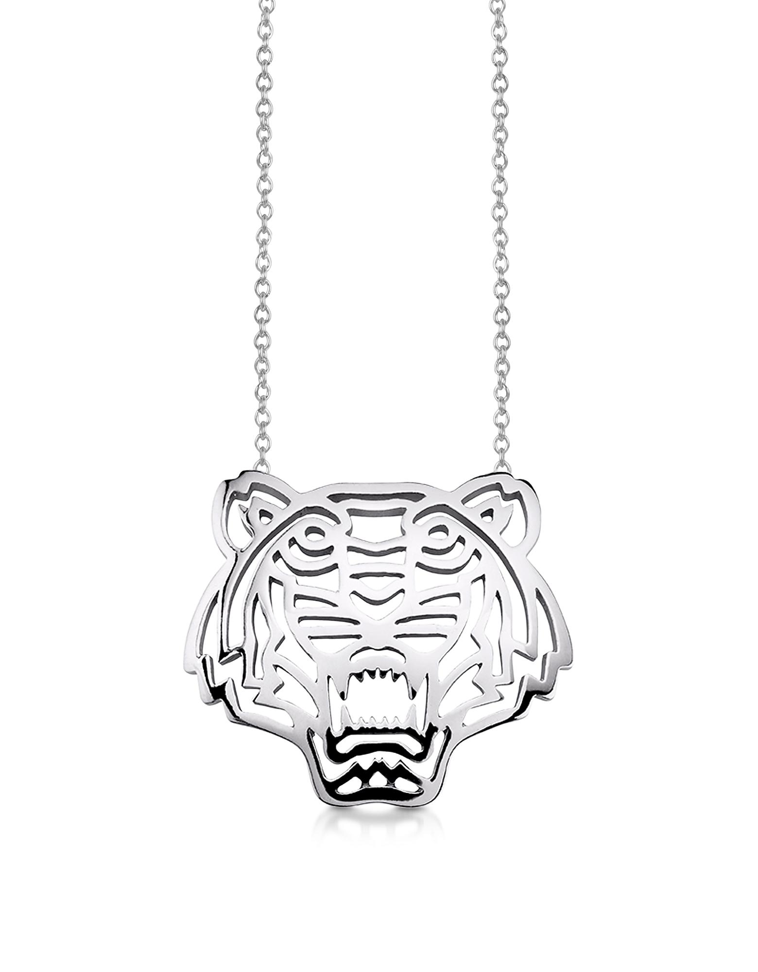 Ожерелье из Стерлингового Серебра с Подвеской-Тигром