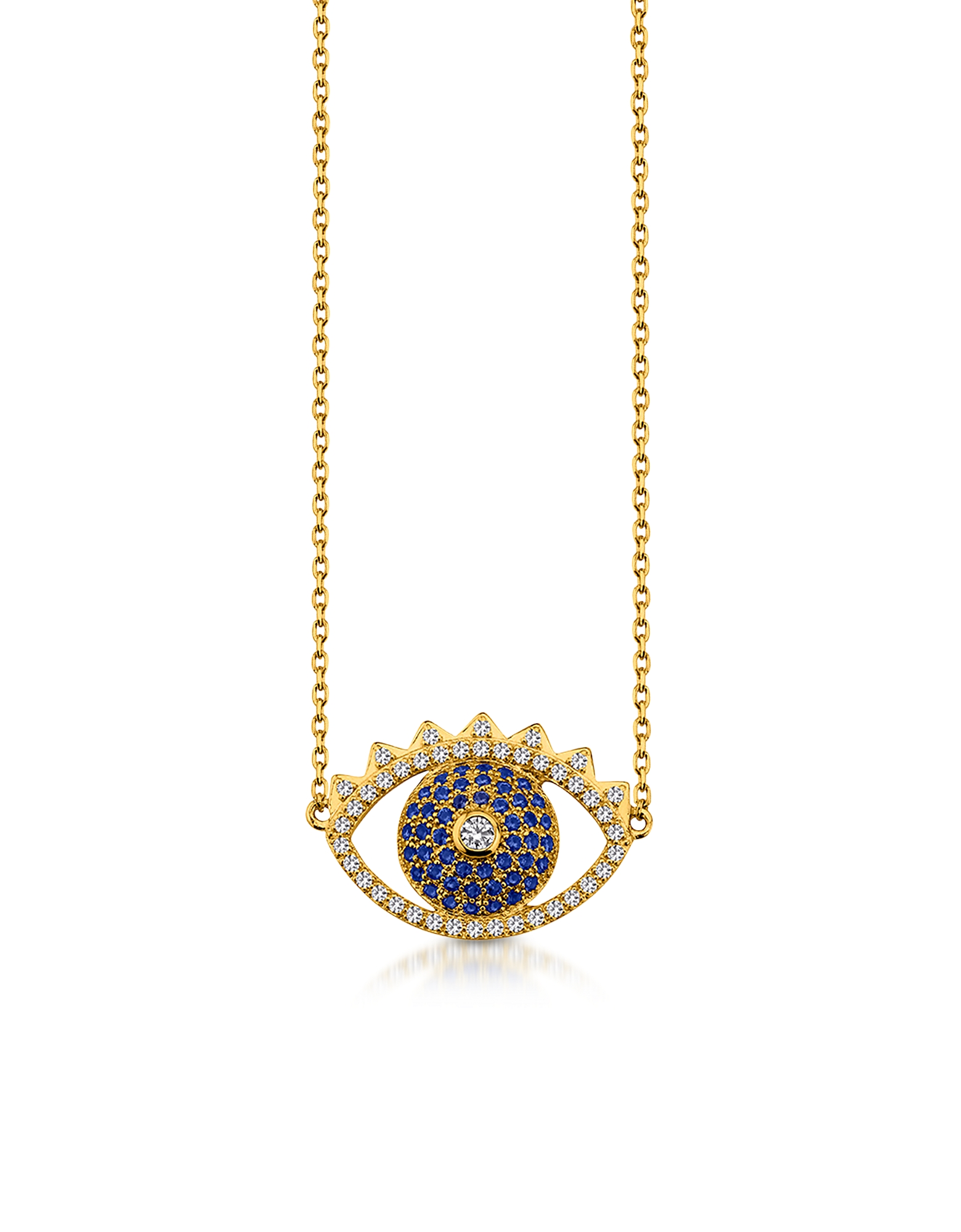 Золотистое Ожерелье из Стерлингового Серебра с Подвеской Глазом