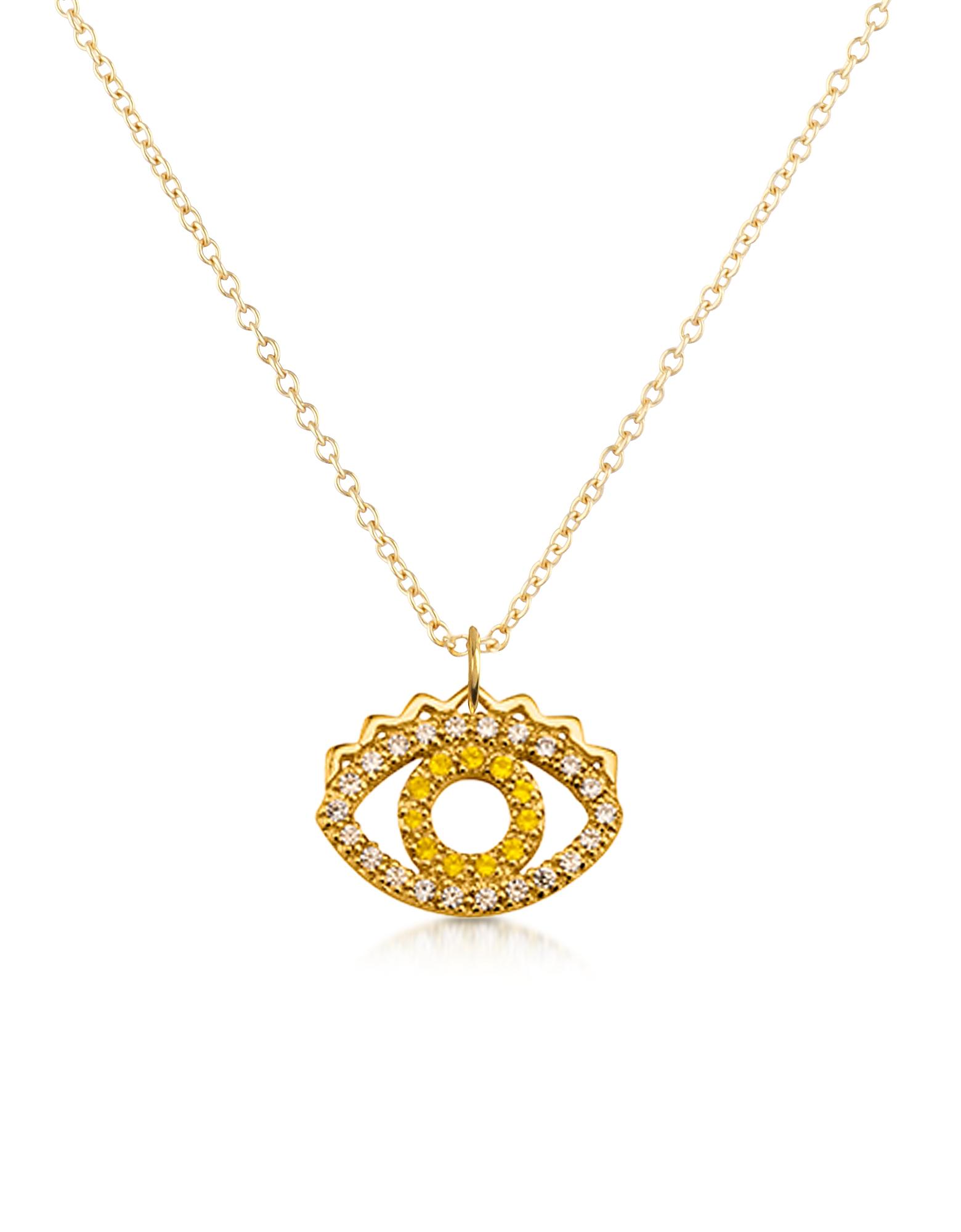 Золотистое Ожерелье из Стерлингового Серебра с Маленькой Подвеской-Глазом