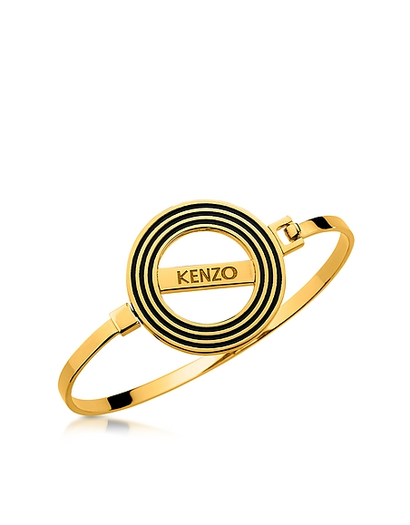 Foto Kenzo Bangle dorato con Logo Kenzo Paris Reversibile Braccialetti