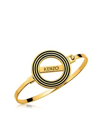 Kenzo - Goldtone Reversible Logo Bangle Bracelet
