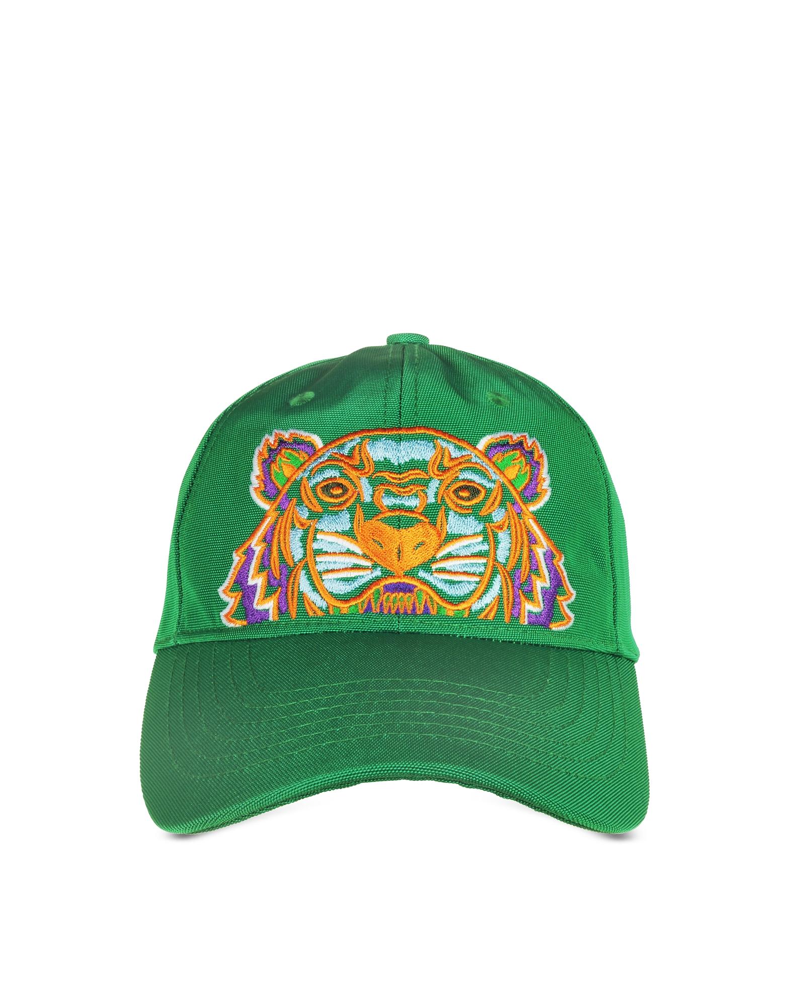 Зеленая Бейсболка из Ткани с Тигром