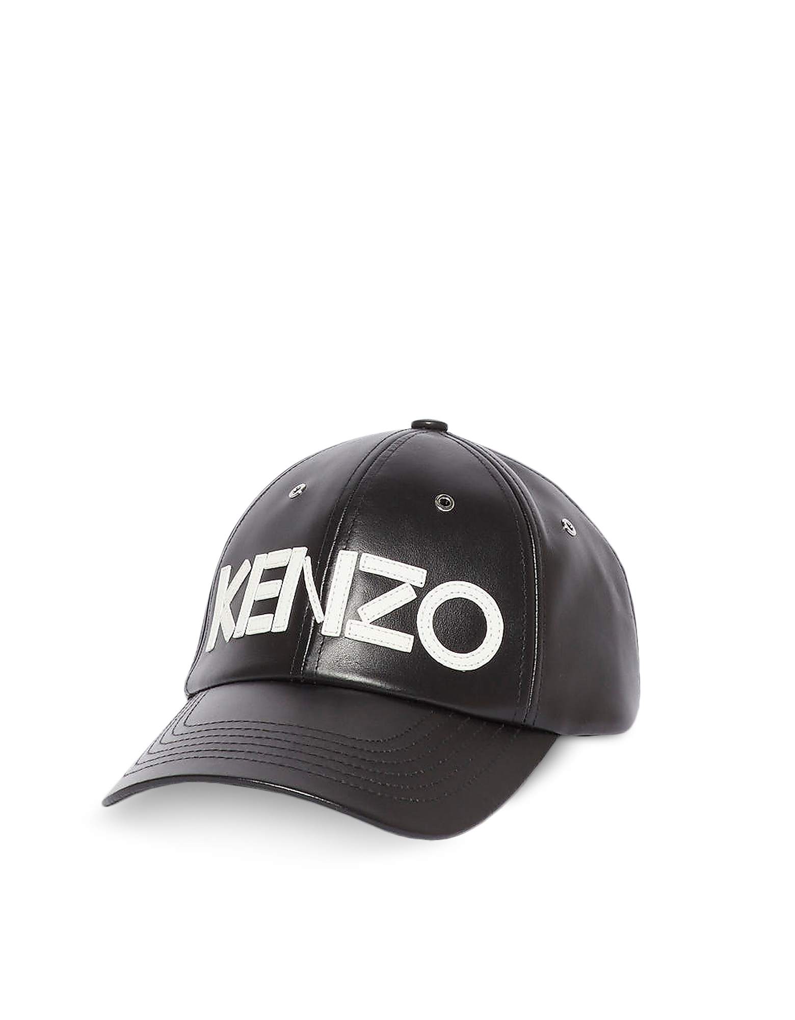 Kenzo Designer Men's Hats, Black Leather Signature Baseball Cap
