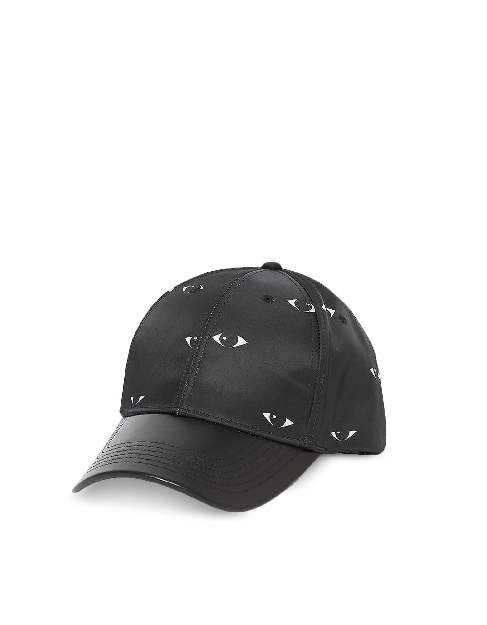 Kenzo Designer Men's Hats, Black Nylon & Leather Eyes Print Baseball Cap