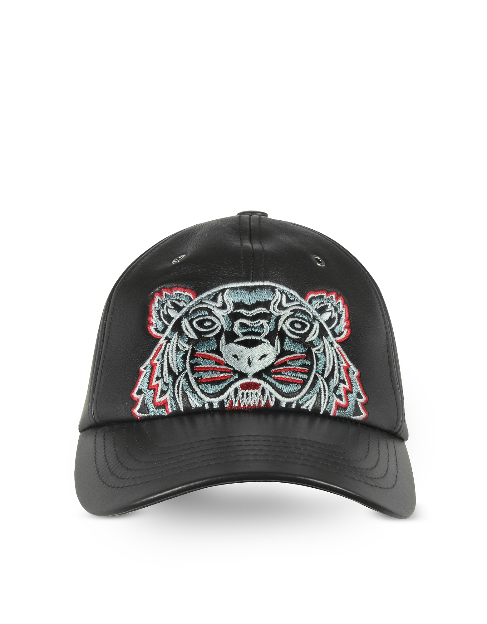 Kenzo Designer Men's Hats, Black Leather Tiger Baseball Cap