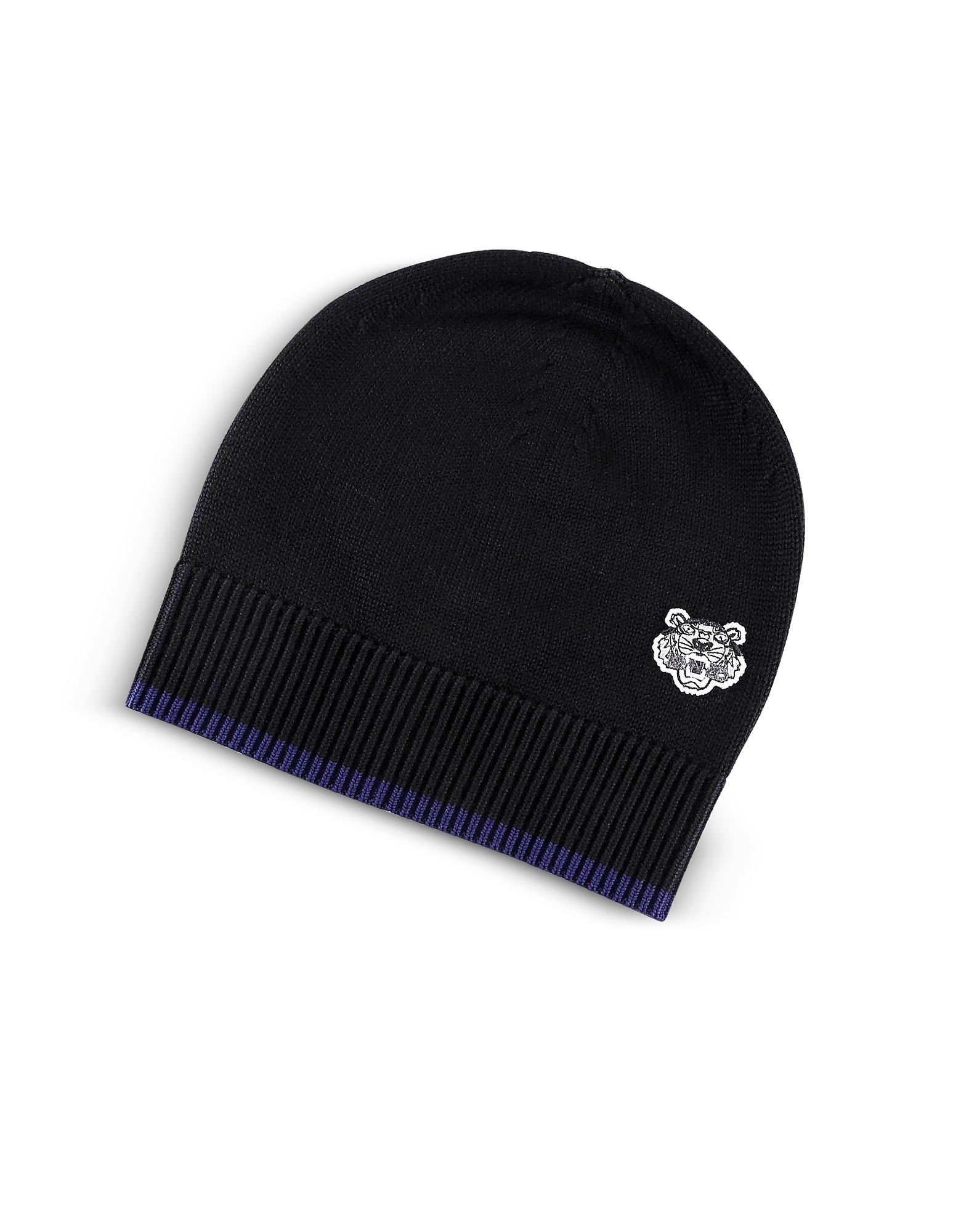 Image of Kenzo Designer Men's Hats, Wool Signature Tiger Crest Beanie