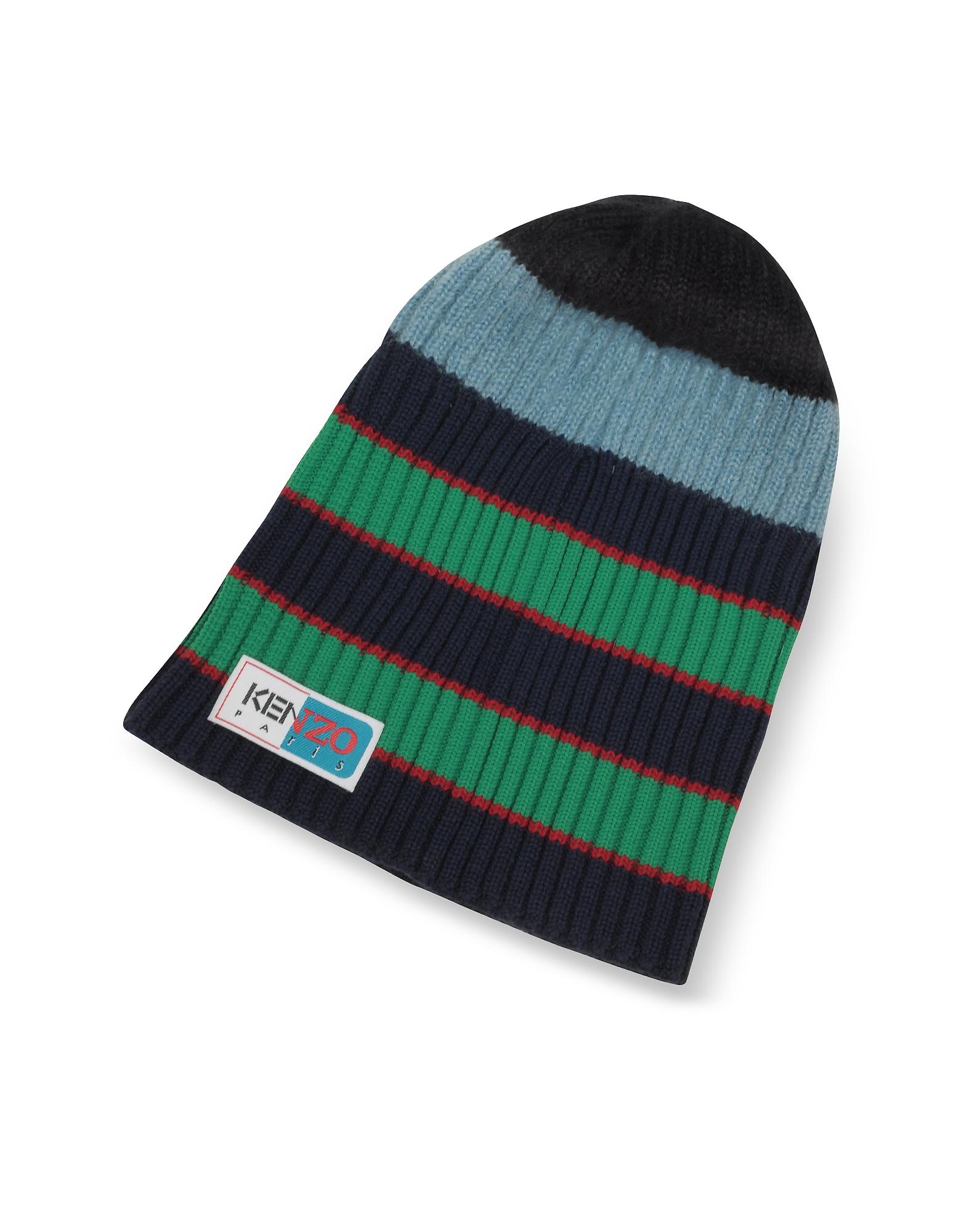 Kenzo Men's Hats, Blue Stripy Wool Beanie