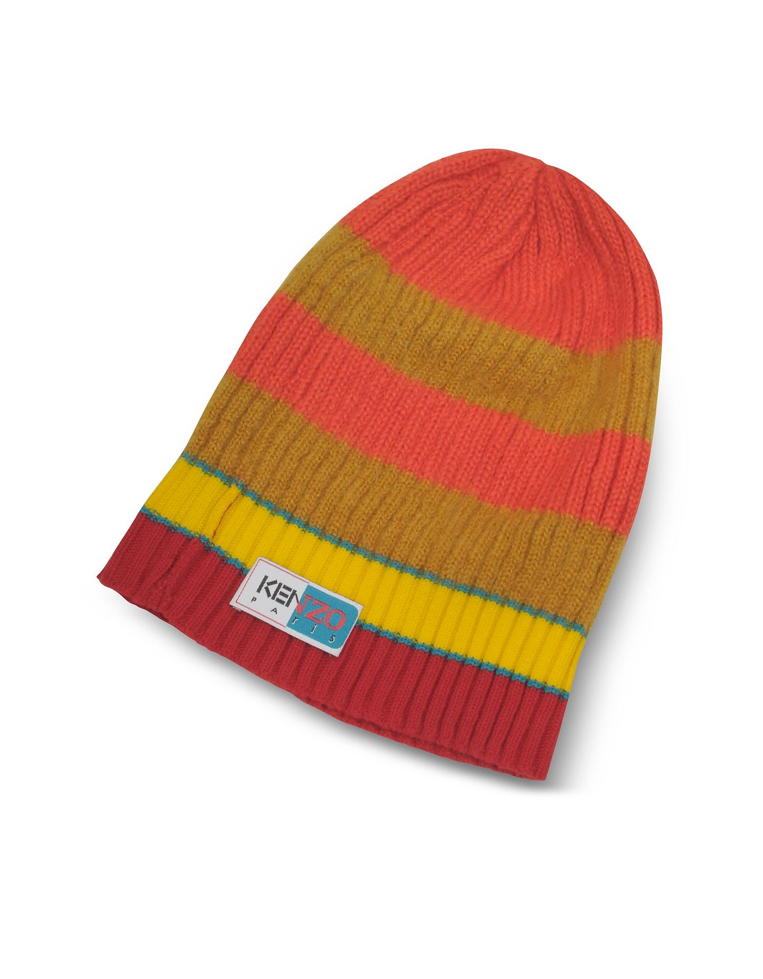 Orange&Yellow Stripy Wool Beanie