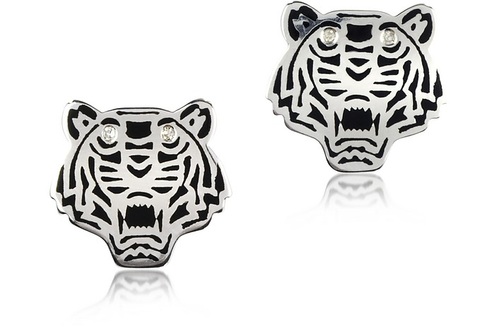Black Lacquer Sterling Silver Mini Tiger Earrings - Kenzo