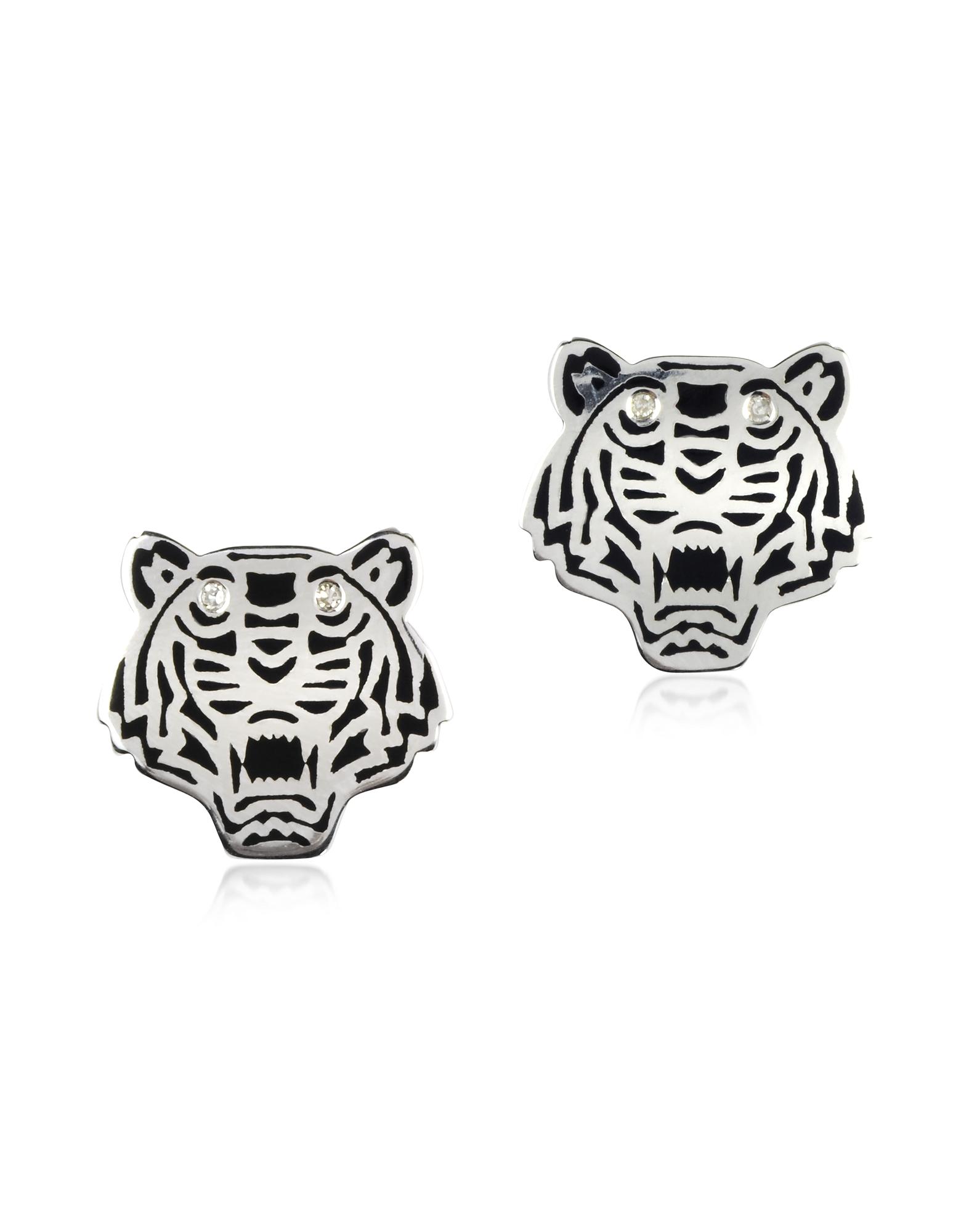 Mini Tiger - Серьги из Серебра 925 пробы с Черным Лаком