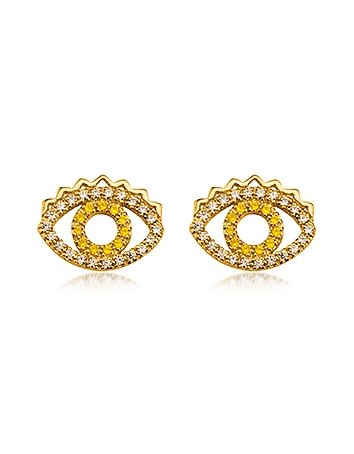 Kenzo - Goldtone Mini Eye Earrings w/Crystals