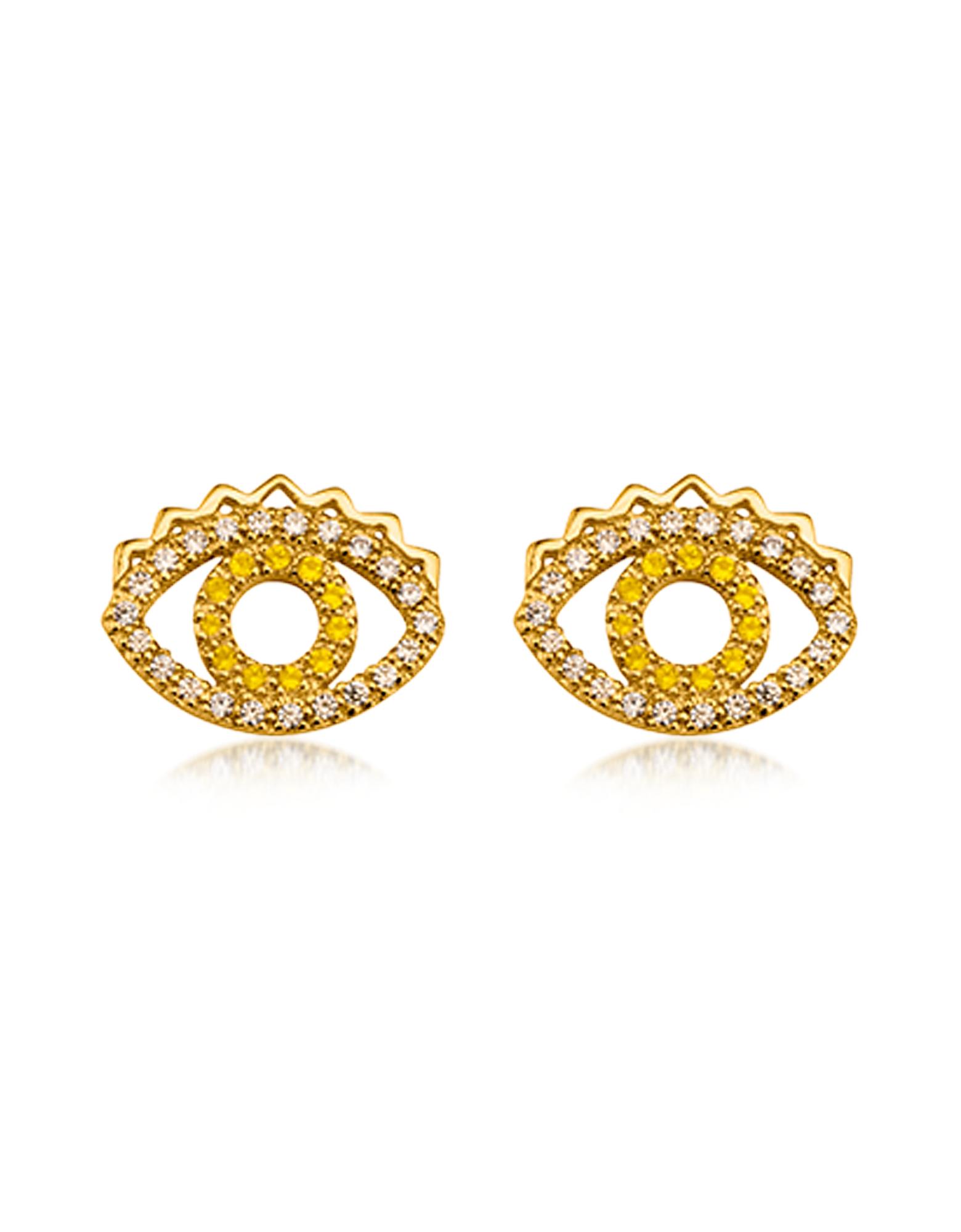 Фото Маленькие Золотистые Серьги Глаза с Кристаллами. Купить с доставкой
