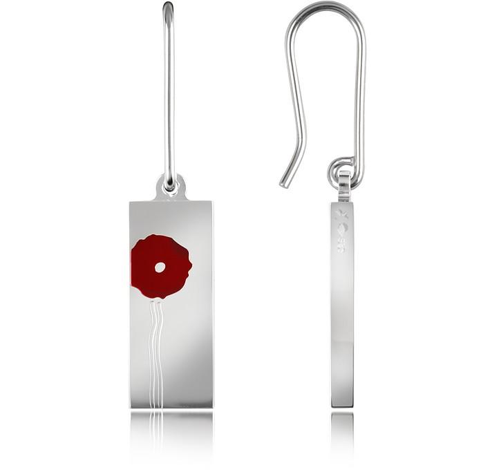 Flower - Sterling Silver Earrings w/Red Lacquer - Kenzo