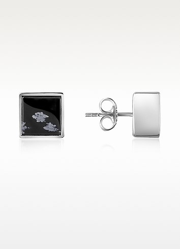 Mailles Articulees - Sterling Silver and Snowflakes Obsidian Earrings - Kenzo