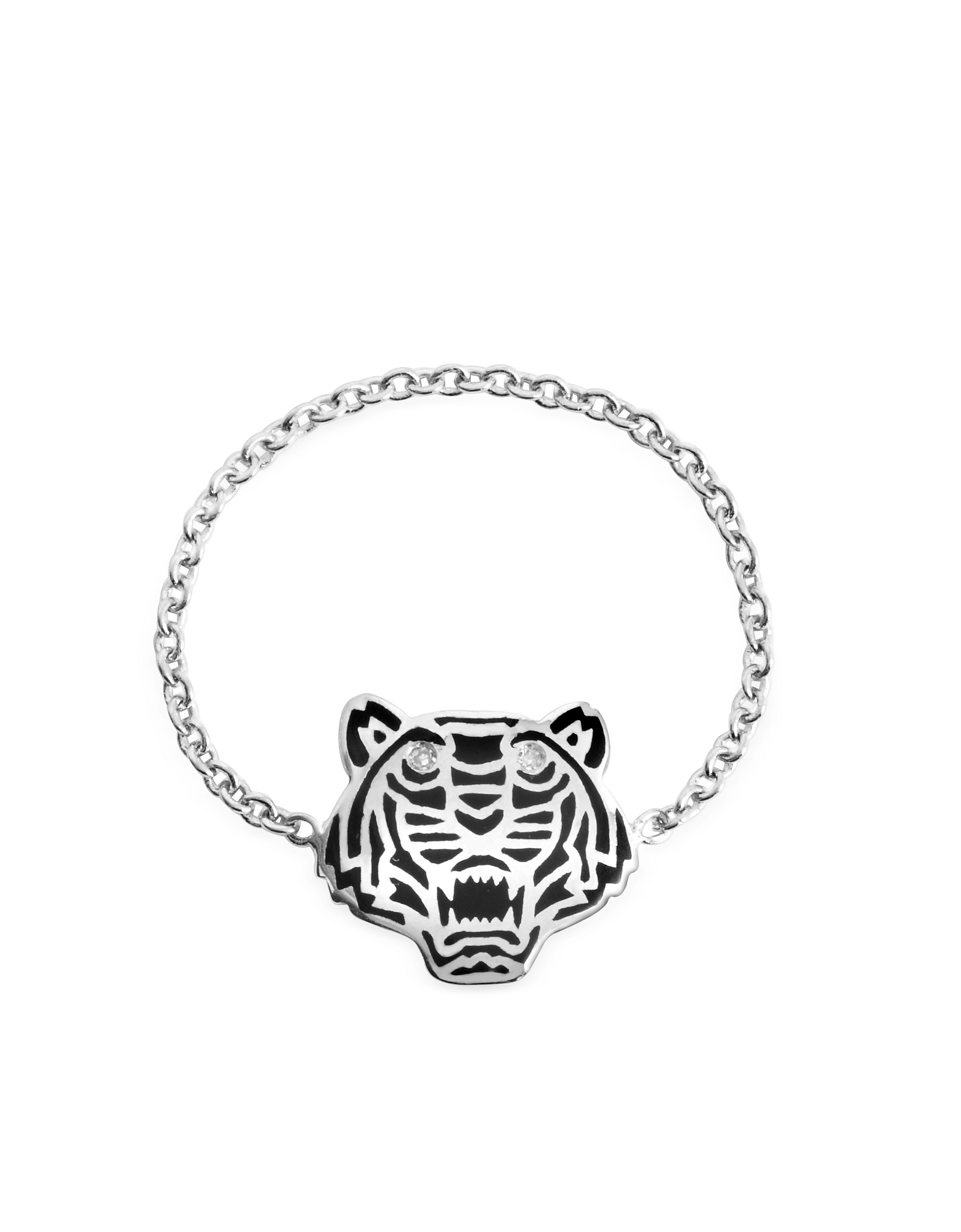Kenzo Rings, Black Lacquer Sterling Silver Mini Tiger Ring