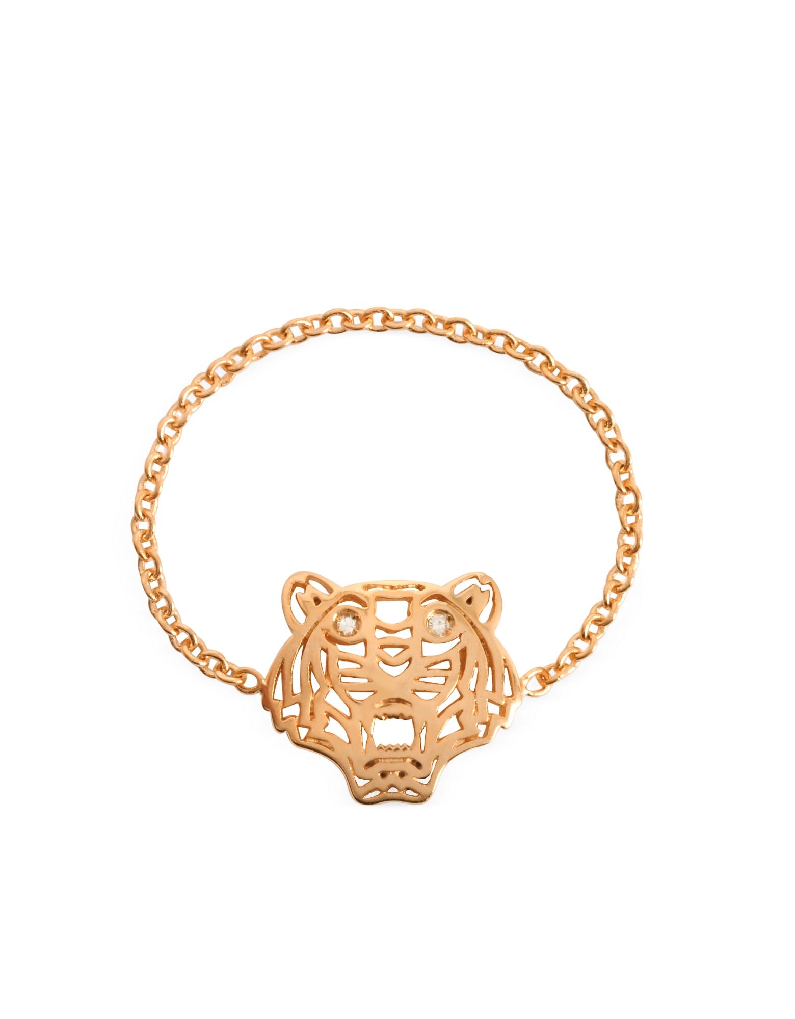 Anello con Mini Tigre in Oro Rosa e Diamanti