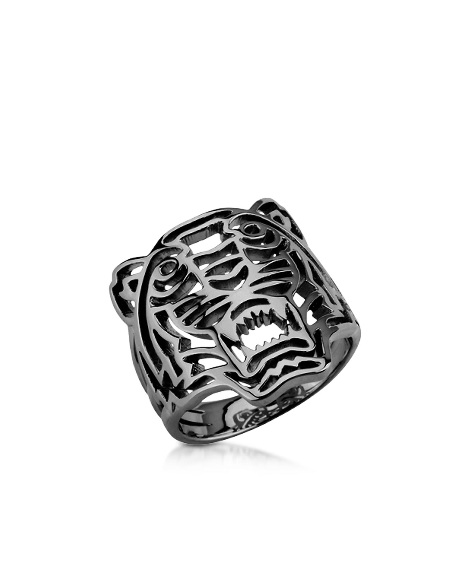 Кольцо из Стерлингового Серебра с Рутениевым Покрытием и Маленьким Тигром-Аппликацией
