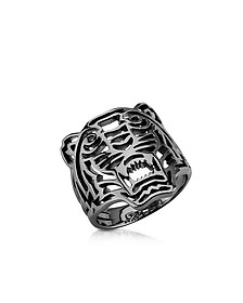 Ruthenium Plated Sterling Silver Cut Out Small Tiger Ring - Kenzo