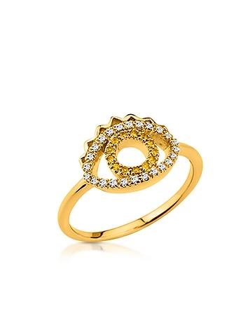 Kenzo - Goldtone Mini Eye Ring w/Crystals