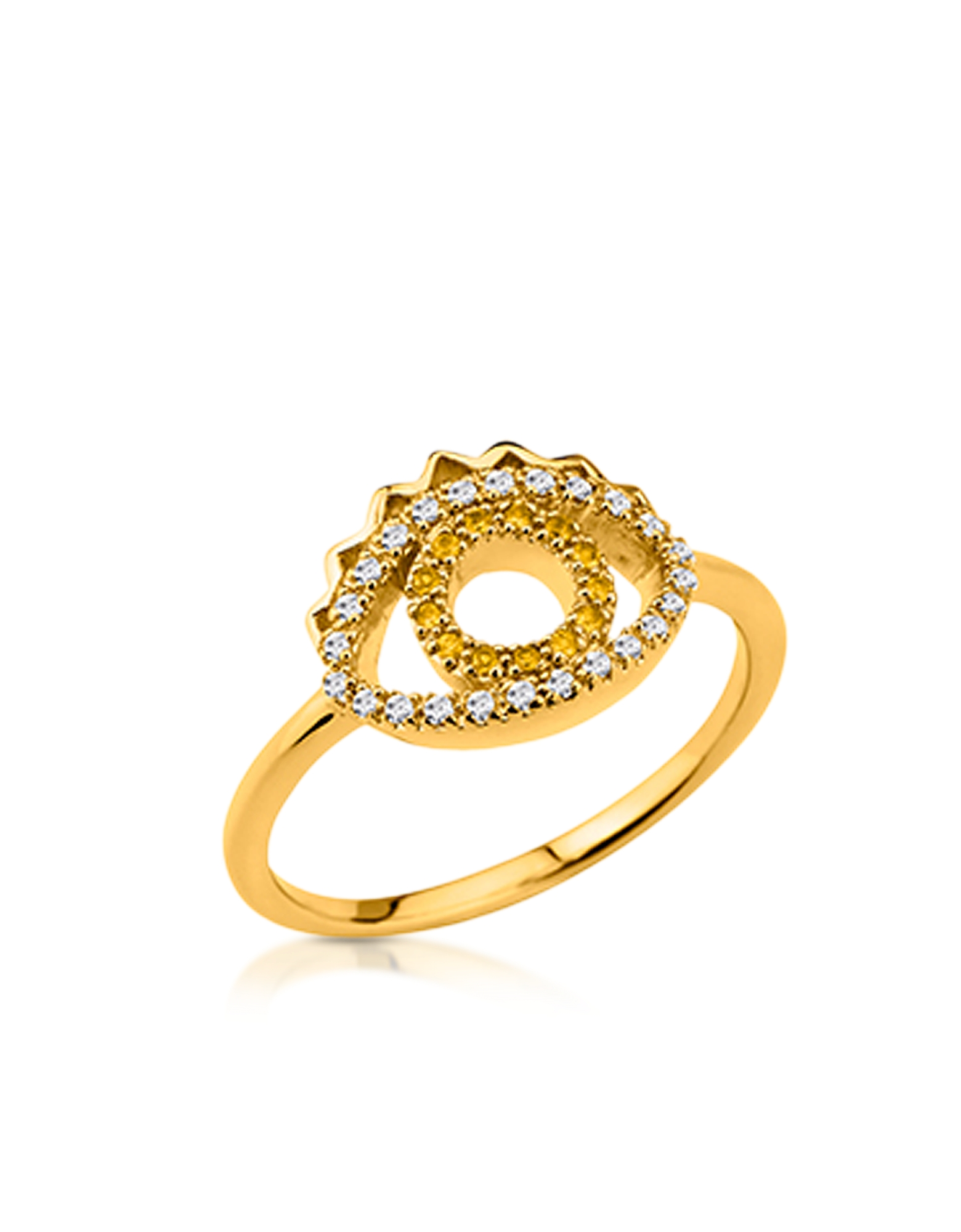 Kenzo Rings, Goldtone Mini Eye Ring w/Crystals