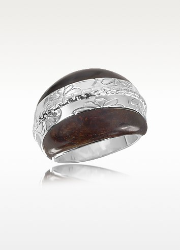 Cosmos - Sterling Silver and Rose Wood Ring - Kenzo
