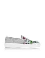 Kenzo Flyer Tiger Sneakers Slip On in Tessuto Grigio Melange - kenzo - it.forzieri.com