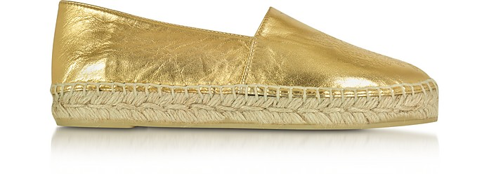Gold Laminated Leather Tiger Espadrilles - Kenzo