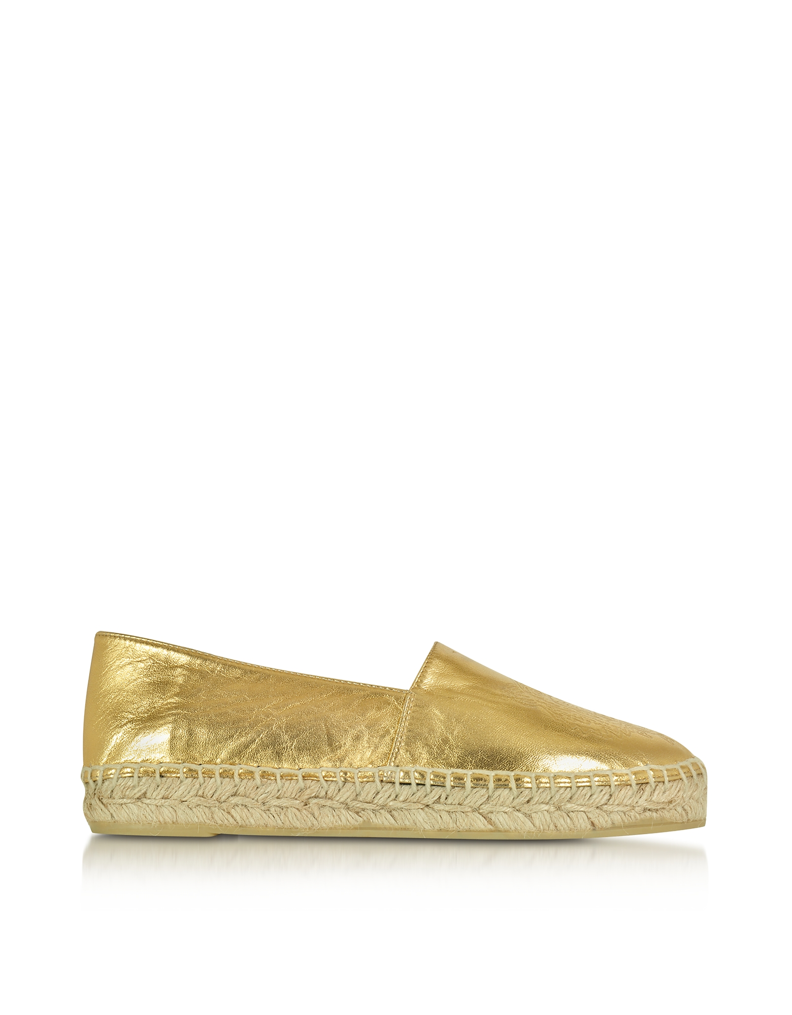 Kenzo Shoes, Gold Laminated Leather Tiger Espadrilles