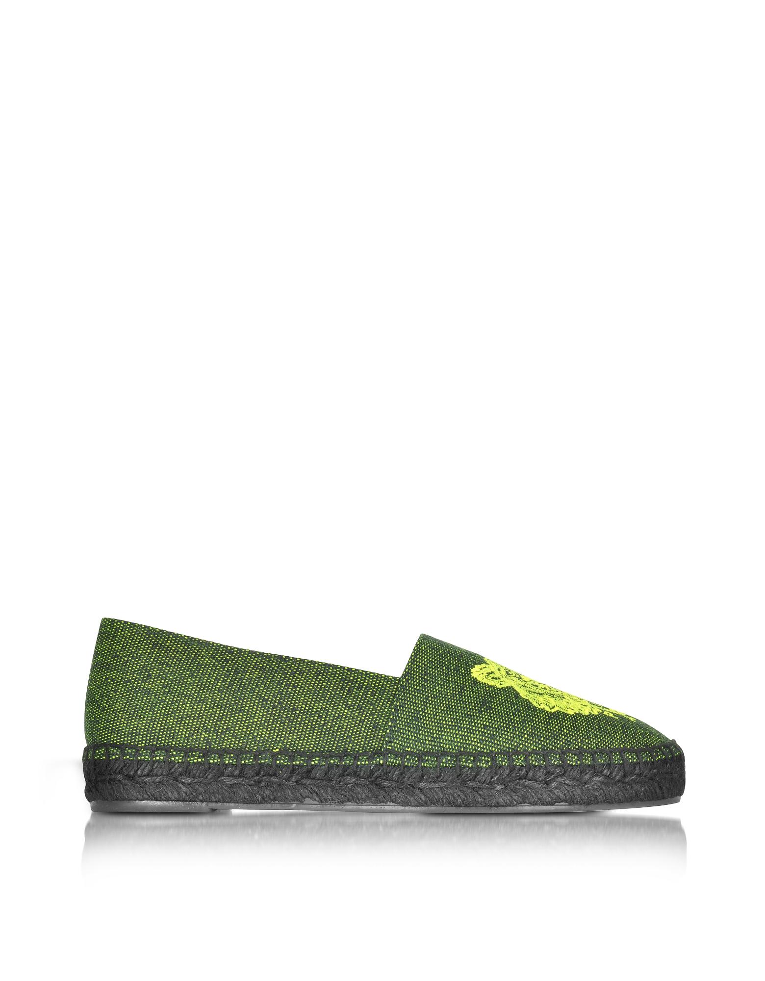 Зеленые Эспадрильи из Ткани с Неоновым Логотипом Тигром