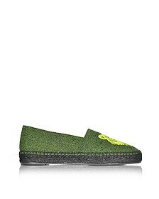 Fluo Green Canvas Mix Tiger Espadrilles - Kenzo