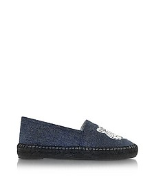 Denim Blue Canvas Mix Tiger Espadrilles - Kenzo