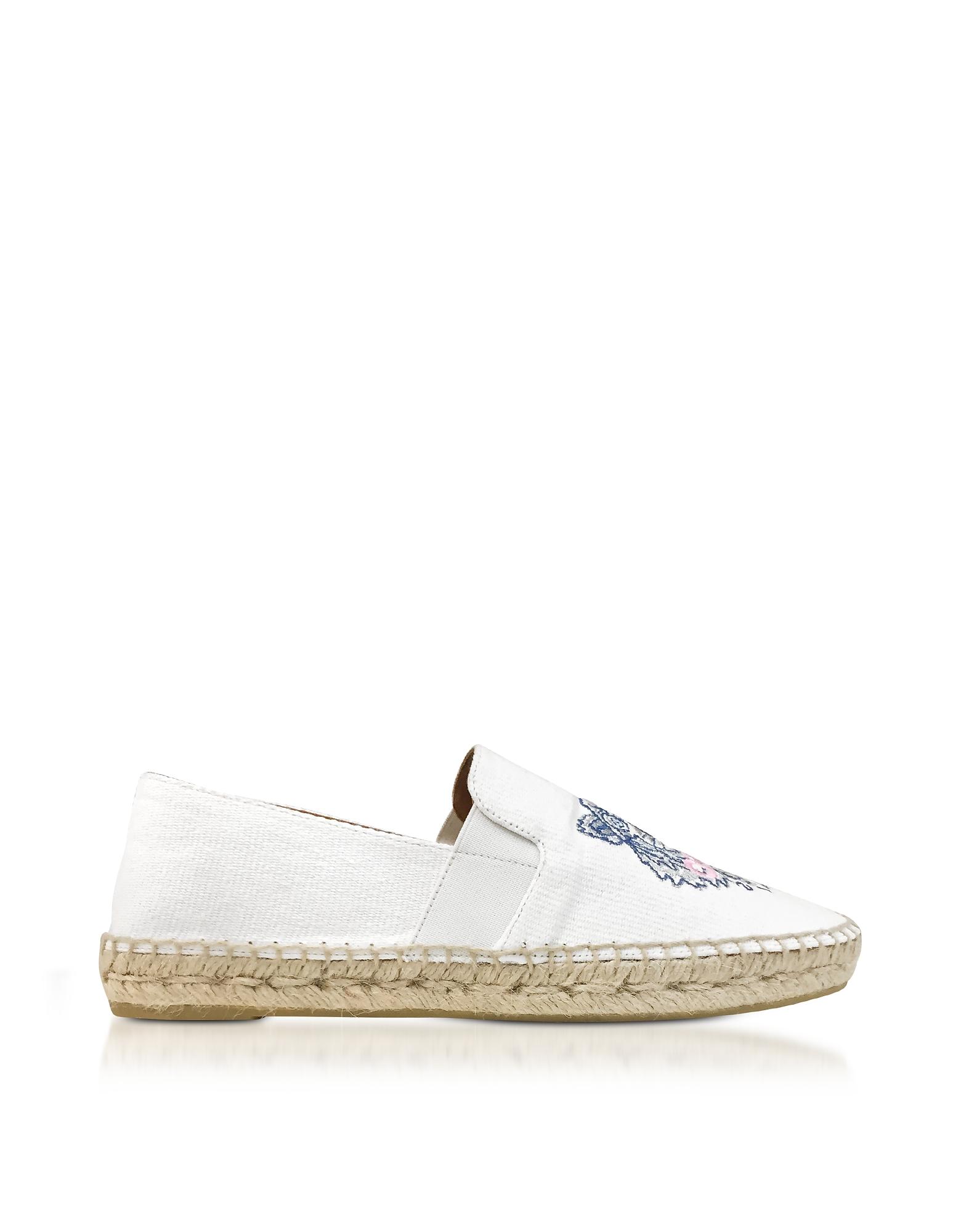 Kenzo Shoes, White Canvas Women's Tiger Espadrilles