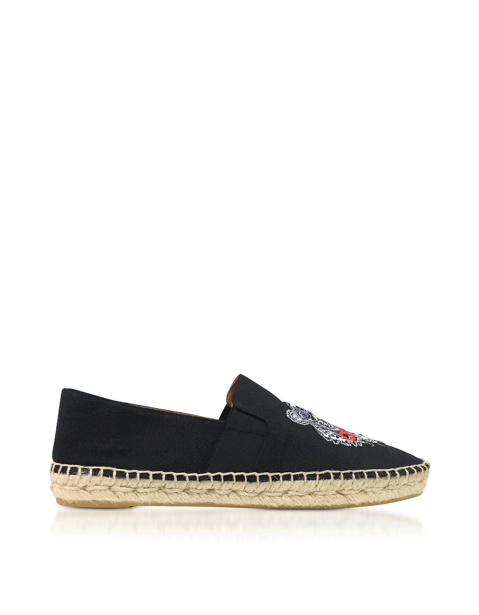 Kenzo Shoes, Black Canvas Women's Tiger Espadrilles