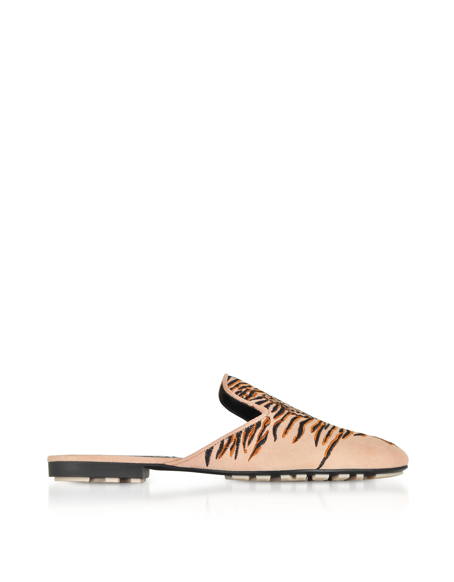 Kenzo Shoes, Nude Suede Geo Tiger Flat Mules