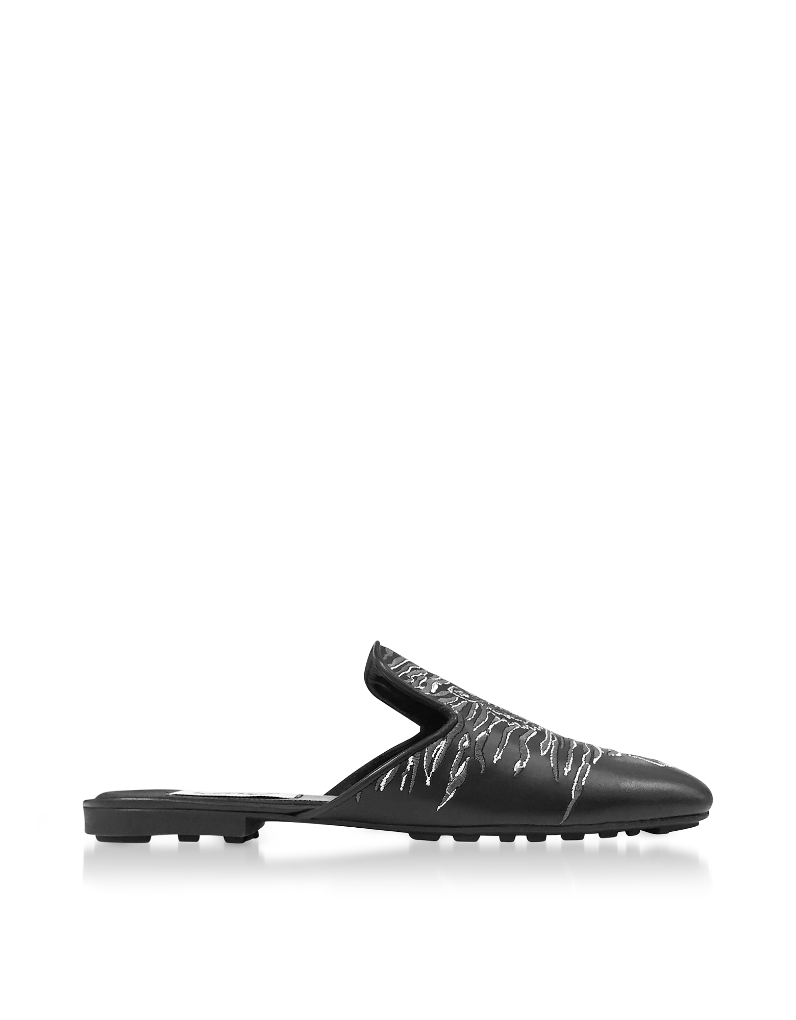 Kenzo Shoes, Black Leather Geo Tiger Flat Mules