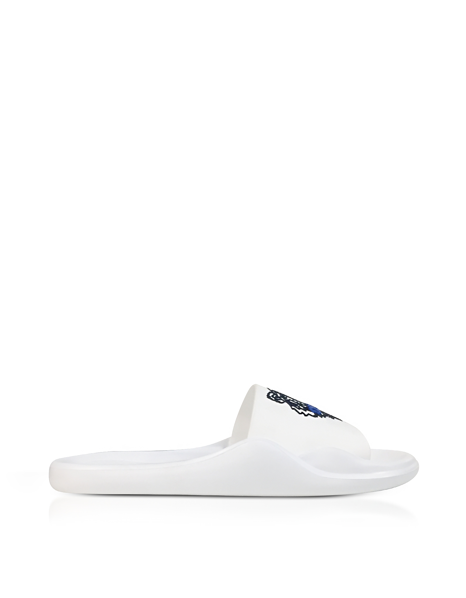 Kenzo Shoes, White Women's Pool Sandals w/Tiger Logo