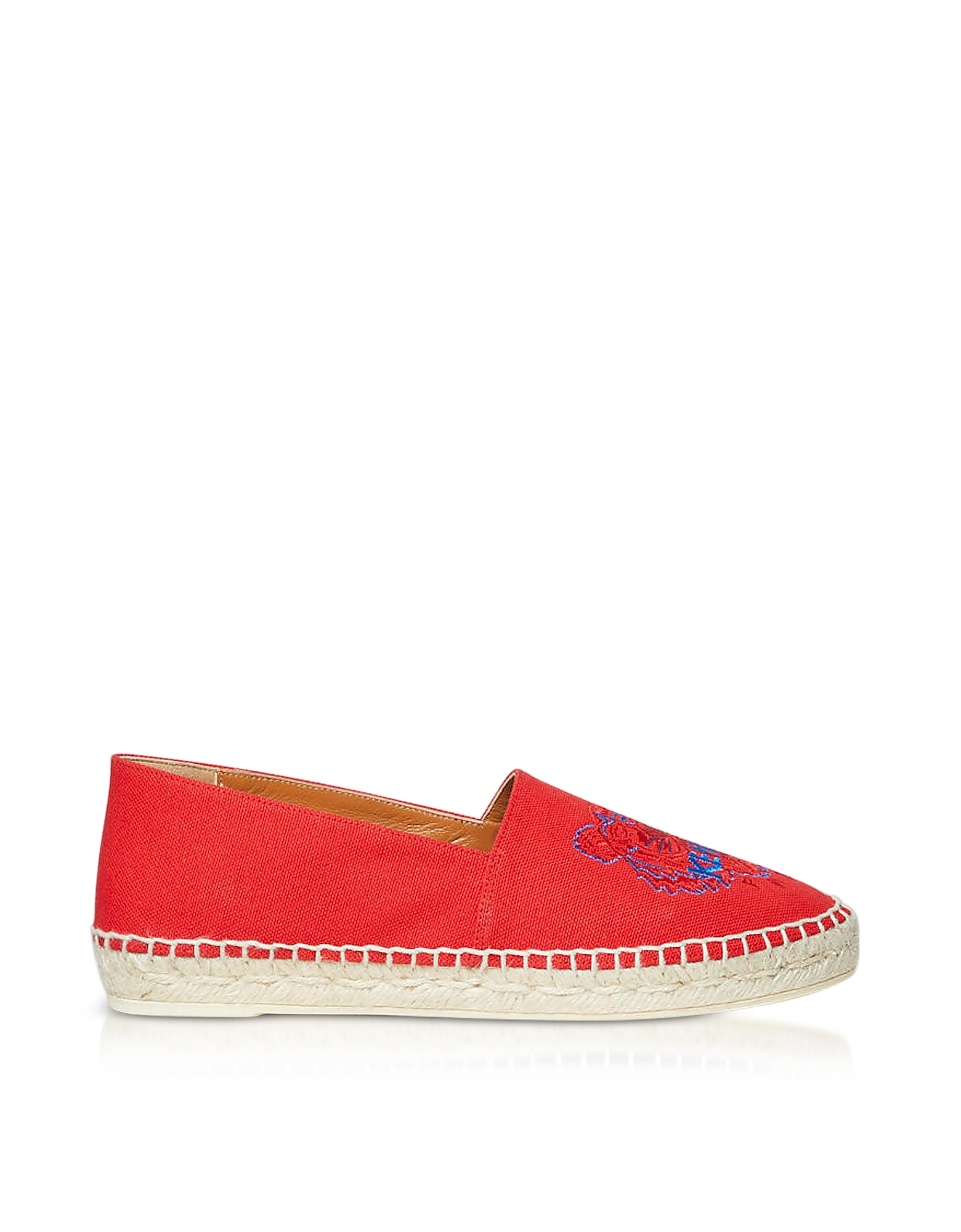 Kenzo Shoes, Red Canvas and Jute Espadrilles