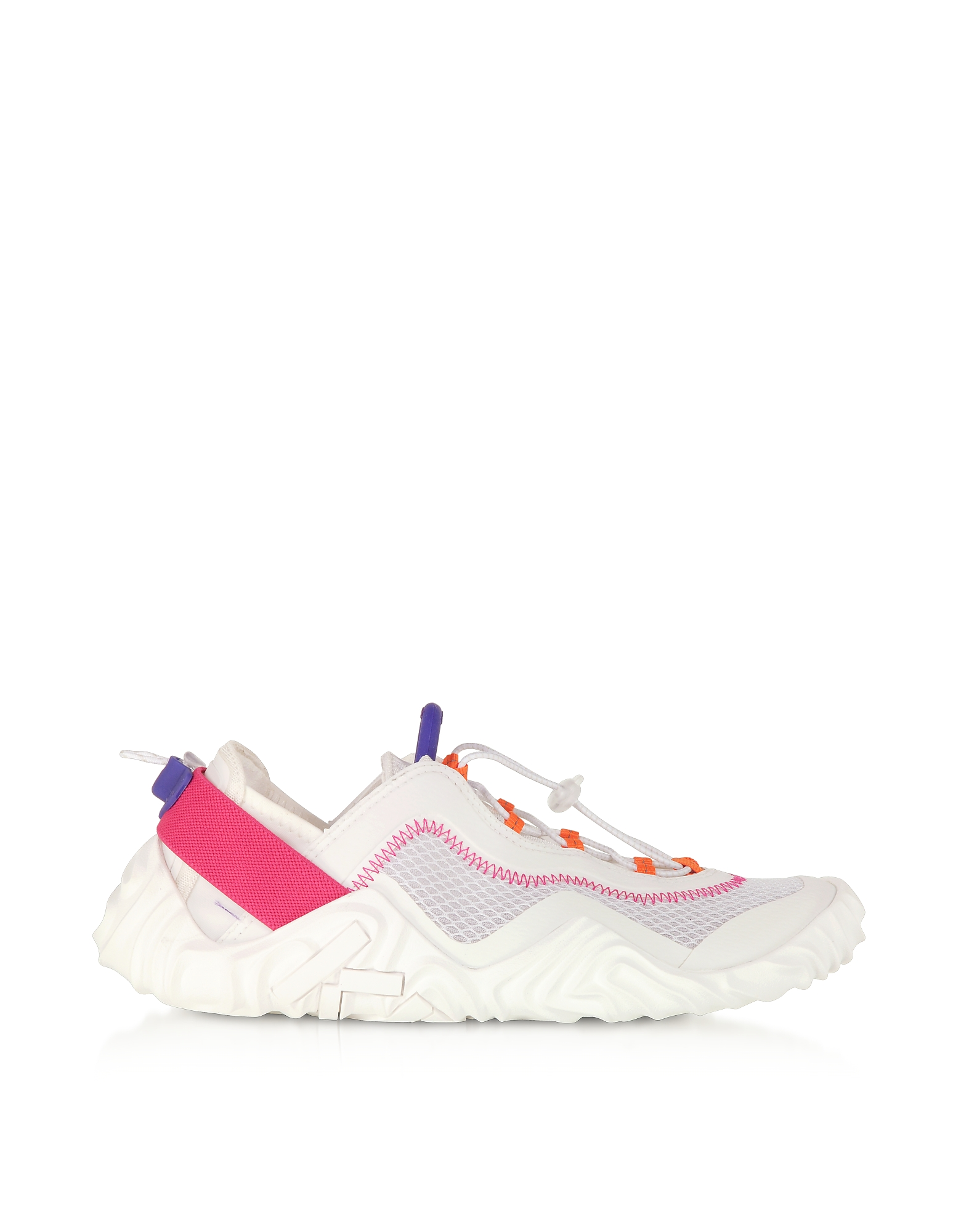Kenzo Designer Shoes, White Mesh Kenzo Wave Low Top Sneakers