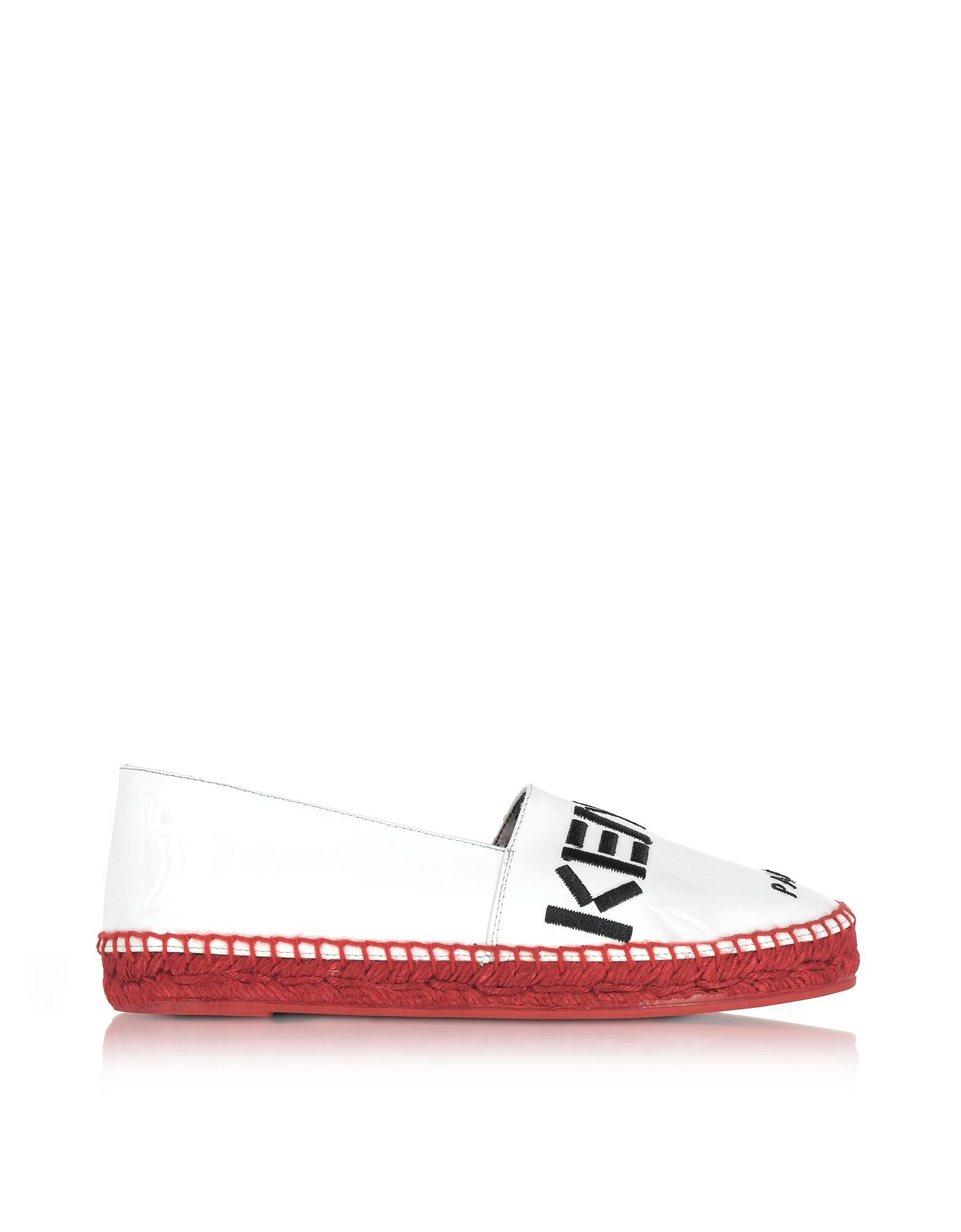 Kenzo Paris - Белые Эспадрильи из Лакированной Кожи с Красной Подошвой