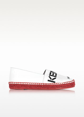 Kenzo Paris White Patent Leather Espadrilles w/Red Sole - Kenzo