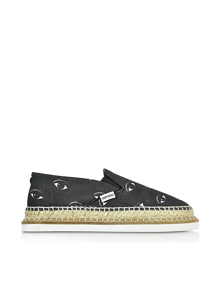 Kenzo Kasual Black Eyes Espadrillas in Canvas Stampa Occhi Nero