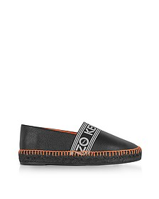 Black Grainy Leather Espadrilles w/Neon Orange Stitching - Kenzo
