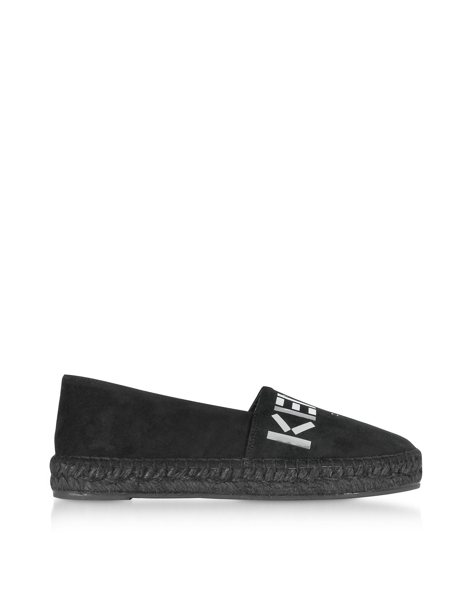 Kenzo Shoes, Black Suede Kenzo Mirrored Espadrilles