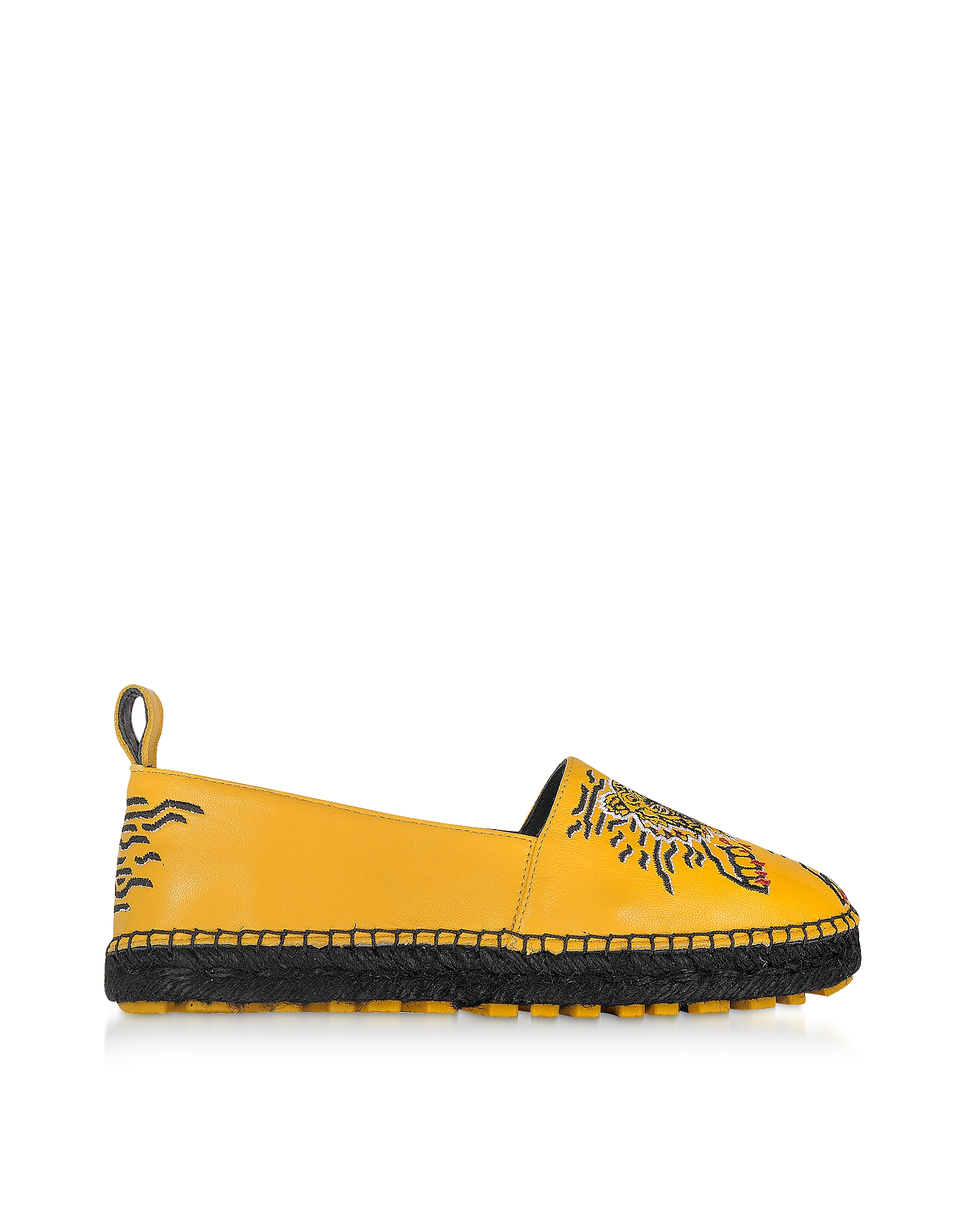 Kenzo Shoes, Sunflower Yellow Leather Tiger Espadrilles