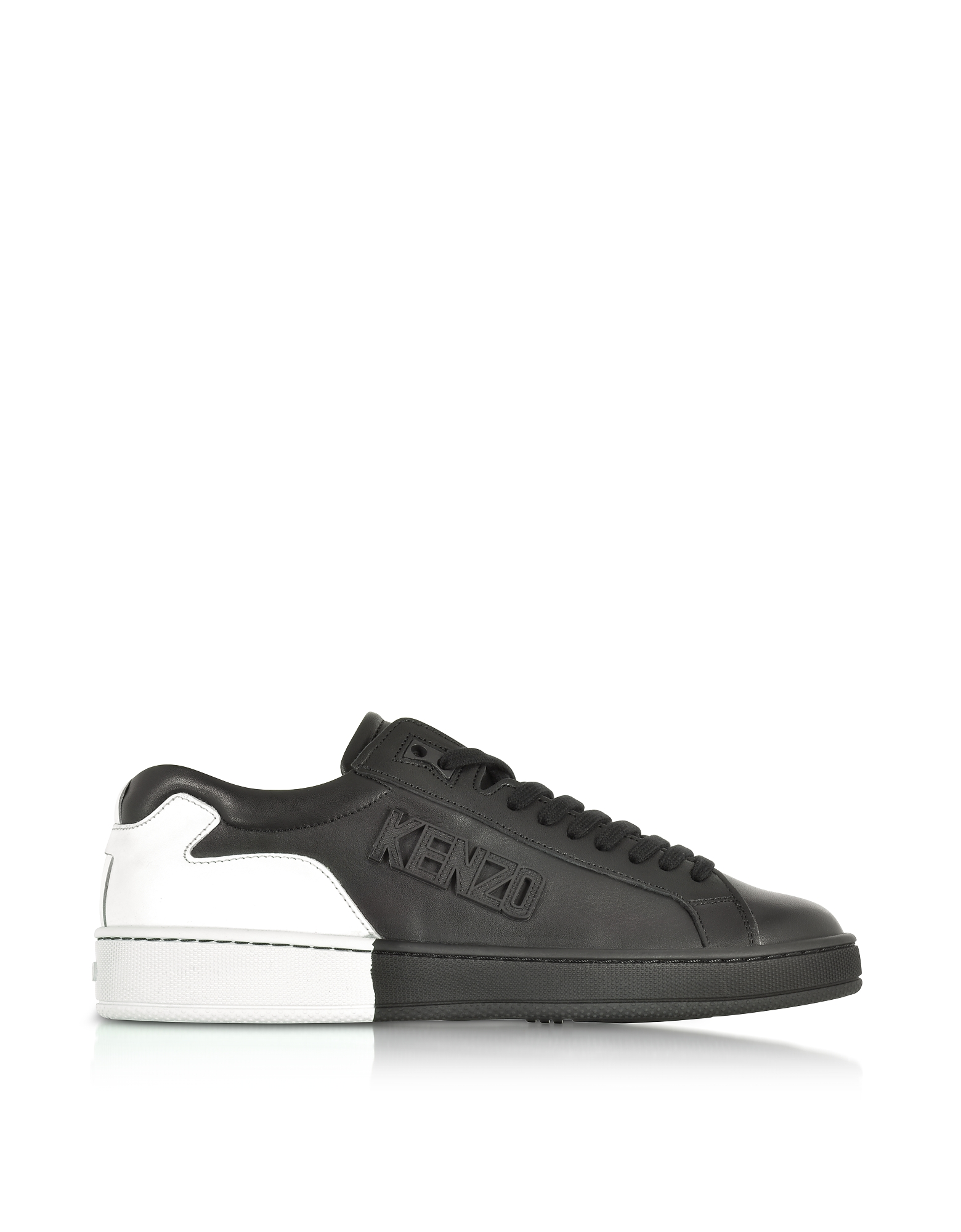 Kenzo Shoes, Tennix Black and White Leather Low Top Sneakers