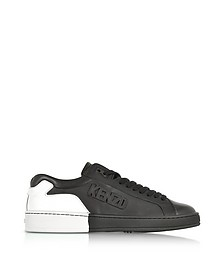 Tennix Black and White Leather Low Top Sneakers - Kenzo