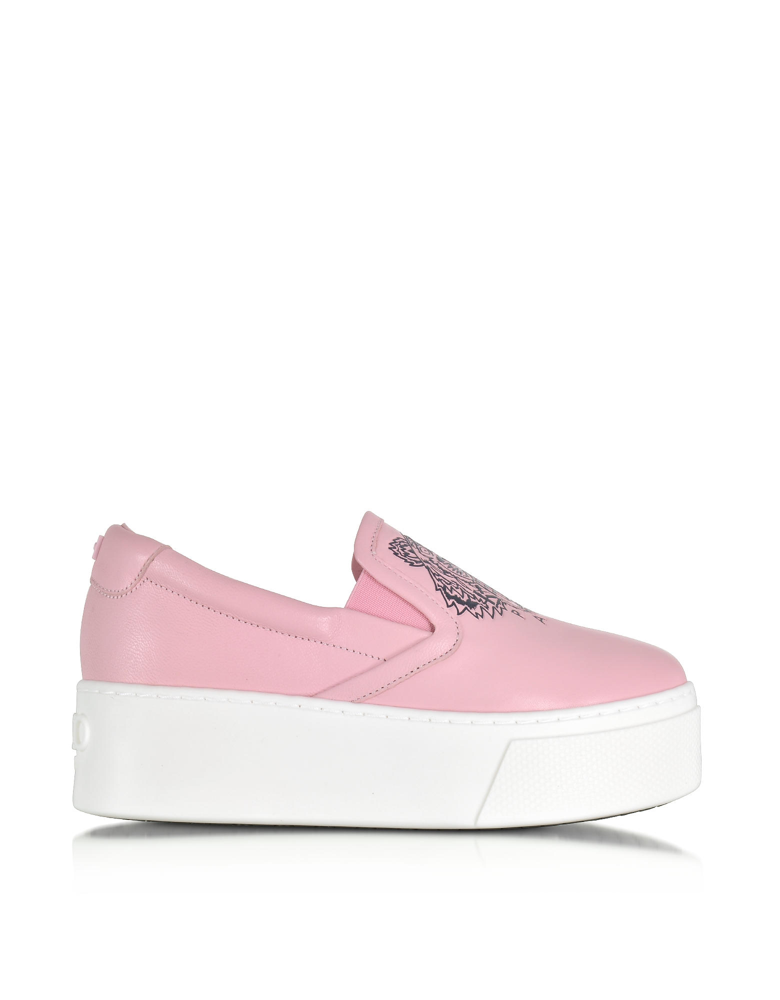 Kenzo Shoes, Pink Leather Tiger Slip on Flatform Sneakers
