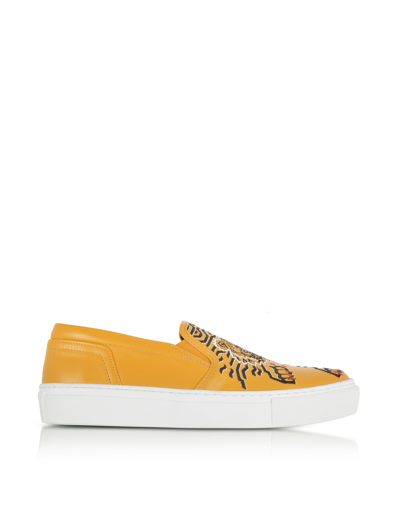 Kenzo Shoes, Yellow Leather Tiger Slip on Sneakers