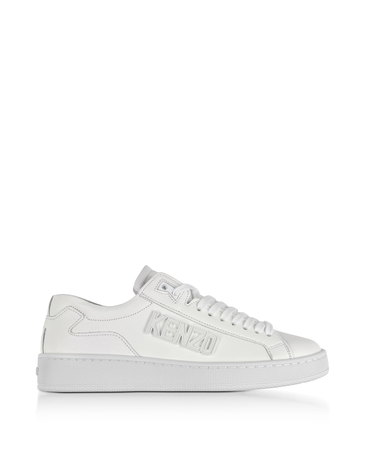 Kenzo Shoes, Tennix White Leather Low Top Sneakers