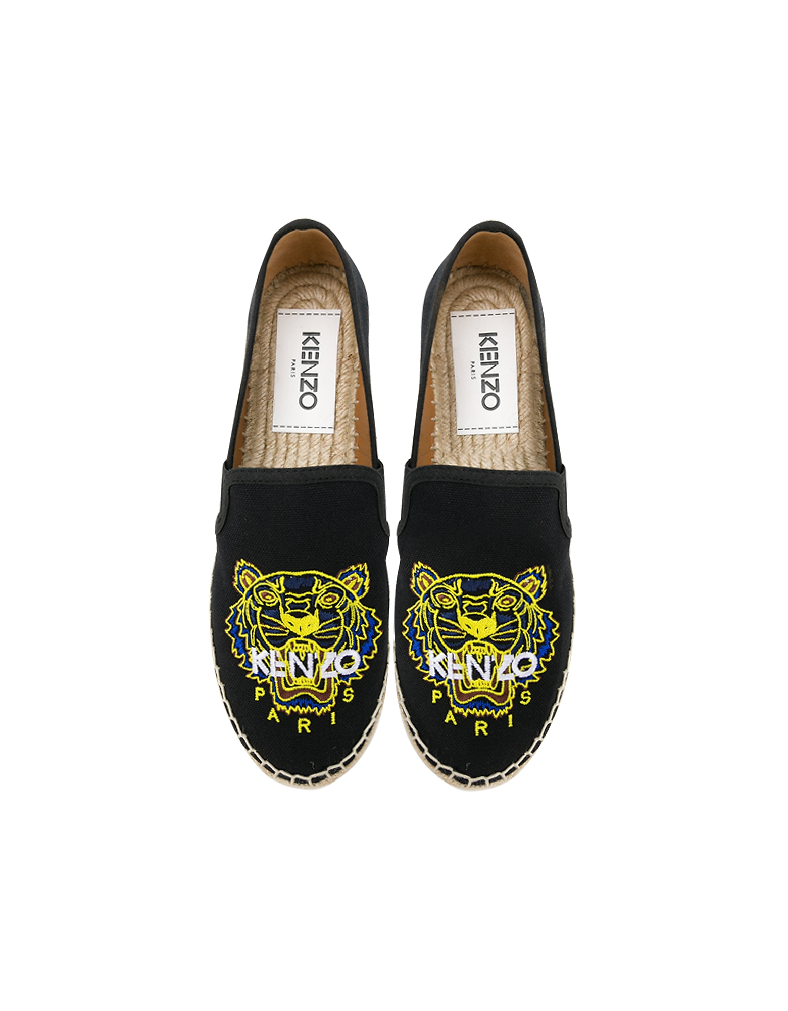 Kenzo Shoes, Black Elastic Canvas Women's Tiger Espadrilles
